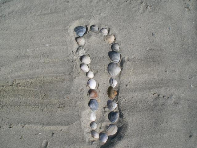 Fußspur im Sandstrand von Norderney