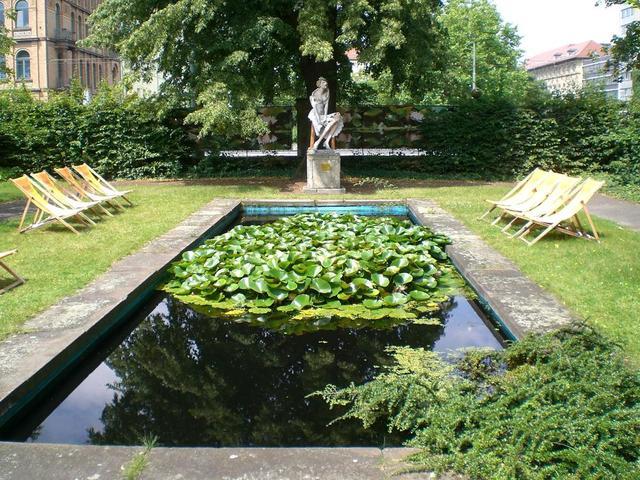 Teich im Garten des Grimm-Museums