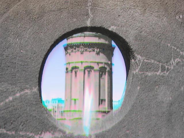 Blick durch das Lipsirad auf den Wasserturm