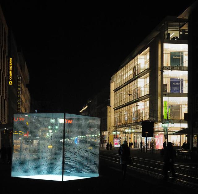 Mannheimer Mahnmal bei Nacht