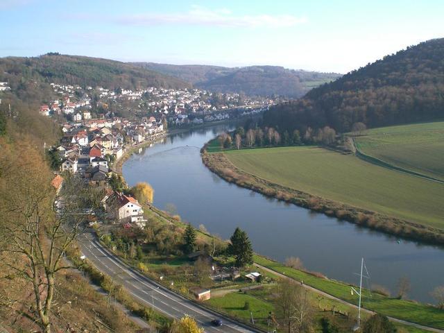 Blick auf Neckarsteinach mit der Neckar-Promenade
