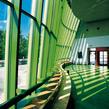 Die Fensterfront der Neuen Staatsgalerie