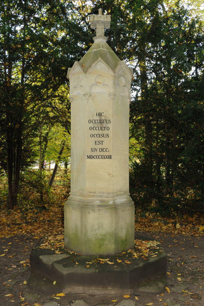 Das Kaspar-Hauser-Denkmal im Ansbacher Hofgarten