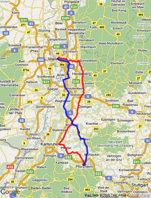 Die gesamte Bertha-Benz-Memorial-Route für jeden zum Nachfahren